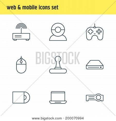 Editable Pack Of Computer, Floodlight, Dvd Drive And Other Elements.  Vector Illustration Of 9 Device Icons.