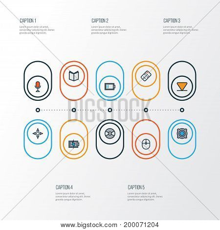 Media Colorful Outline Icons Set. Collection Of Arrow, Learning, Amplifier And Other Elements