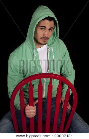 Man Green Hoodie Serious