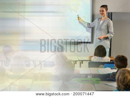 Digital composite of School teacher with class