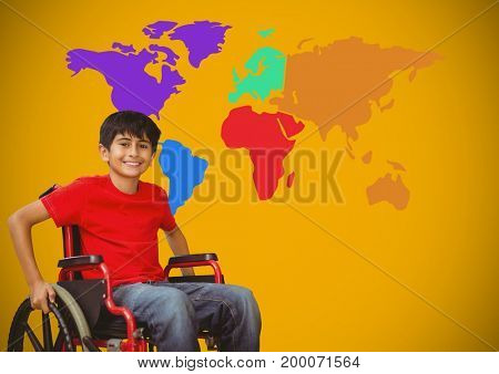 Digital composite of Disabled boy in wheelchair in front of colorful world map