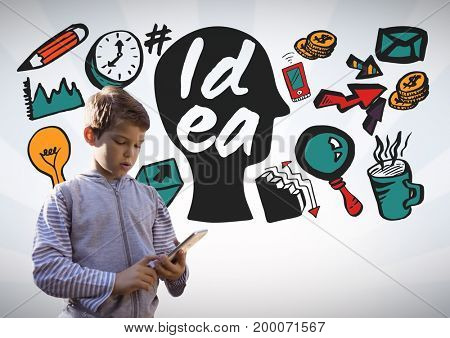 Digital composite of Boy on tablet with colorful idea graphics