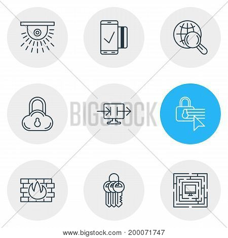 Editable Pack Of Easy Payment, System Security, Send Information And Other Elements.  Vector Illustration Of 9 Privacy Icons.