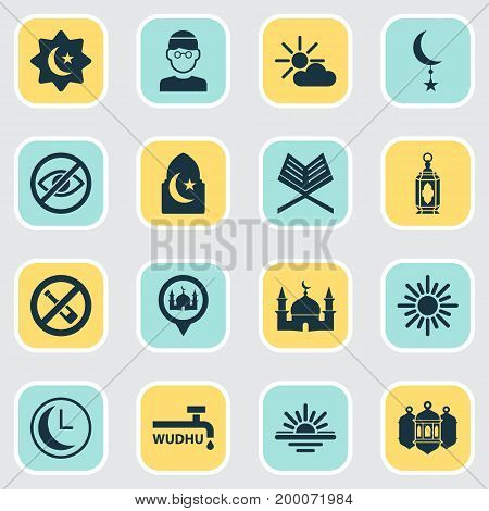 Holiday Icons Set. Collection Of Islamic, Midday, Male And Other Elements