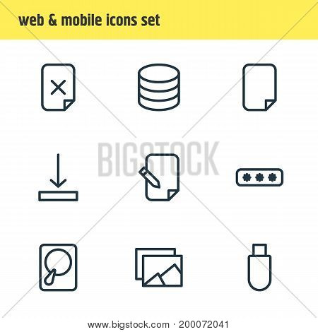 Editable Pack Of Agreement, Parole, Remove And Other Elements.  Vector Illustration Of 9 Storage Icons.
