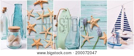 Collage from photos with ocean sea or coastal living decorations. Summer family vacation. Decorative wooden boats star fishes bottles with ocean treasures on light backgound. Site header.