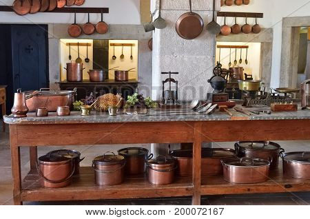 Sintra Portugal - June 6 2017: Interior of kitchen in the Pena Palace. The palace is a UNESCO World Heritage Site and one of the Seven Wonders of Portugal