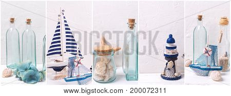 Collage from photos with ocean sea or coastal living decorations. Decorative wooden boats hydrangea flowers bottles with ocean treasures on light backgound. Site header.