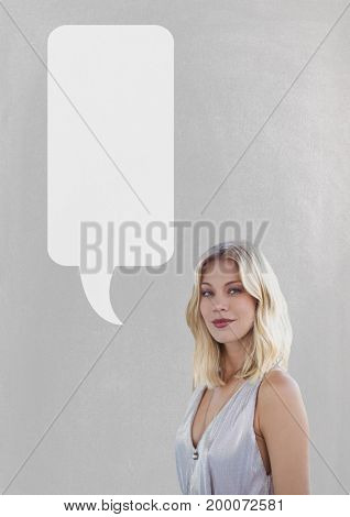 Digital composite of Woman with speech bubble standing against grey background