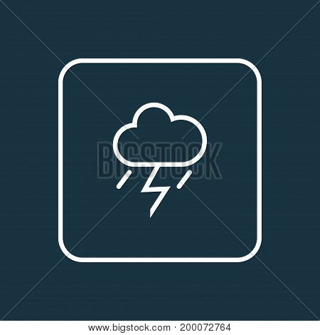 Premium Quality Isolated Lightning Element In Trendy Style.  Thunderstorm Outline Symbol.