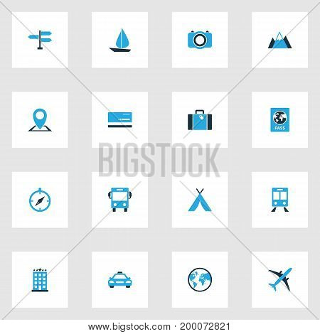 Journey Colorful Icons Set. Collection Of Taxi, Earth, Suitcase And Other Elements