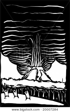Volcano Woodcut with people