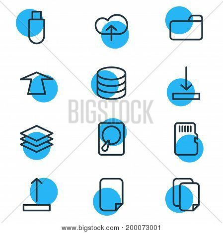 Editable Pack Of Memory, Flash Drive, Download And Other Elements.  Vector Illustration Of 12 Memory Icons.