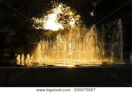 Jets of water in a fountain in the backlight of the setting sun Astrakhan Russia