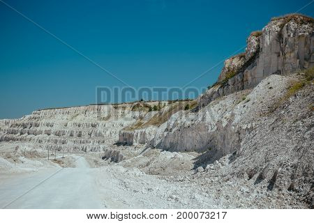 White chalk or marble quarry rocks, toned