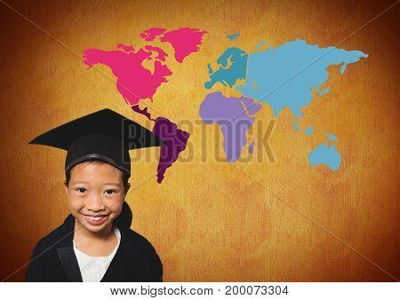Digital composite of Schoolgirl in graduation hat in front of colorful world map