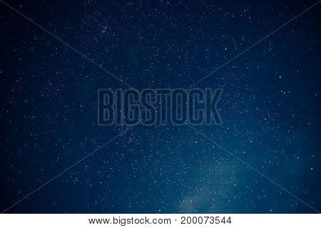 Many stars on night sky, stars background, toned