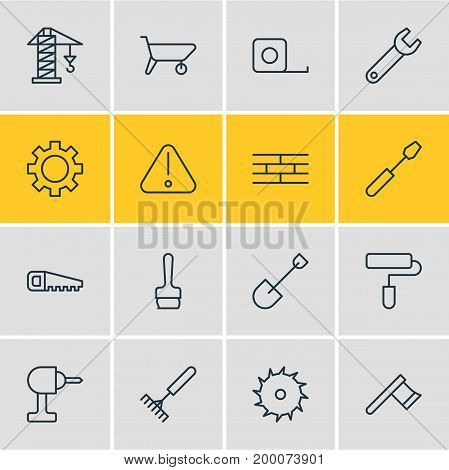 Editable Pack Of Cogwheel, Paintbrush, Turn Screw And Other Elements.  Vector Illustration Of 16 Industry Icons.