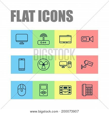 Gadget Icons Set. Collection Of Switch, Surveillance, Work Phone And Other Elements