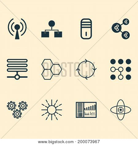 Robotics Icons Set. Collection Of Controlling Board, Computing Problems, Analysis Diagram And Other Elements