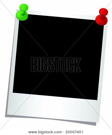 Photo frame with buttons on a white background vector