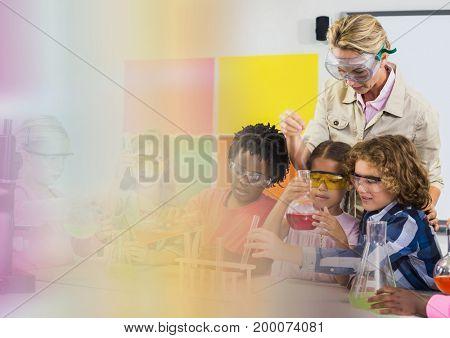 Digital composite of Science school teacher with class