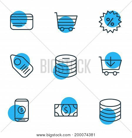 Editable Pack Of Minus, Mobile, Tag And Other Elements.  Vector Illustration Of 9 Commerce Icons.