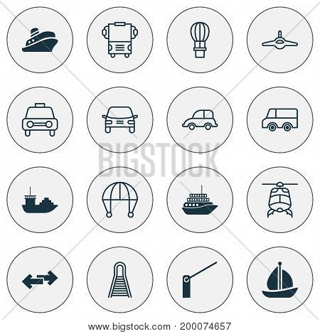 Shipping Icons Set. Collection Of Navigation Arrows, Transport, Flight Basket And Other Elements