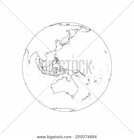Earth globe wireframe. Focused on Australia and Pacific. Vector illustration of black stroke on white background.