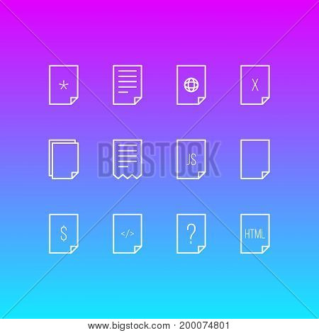 Editable Pack Of Copy, Remove, Basic And Other Elements.  Vector Illustration Of 12 Document Icons.