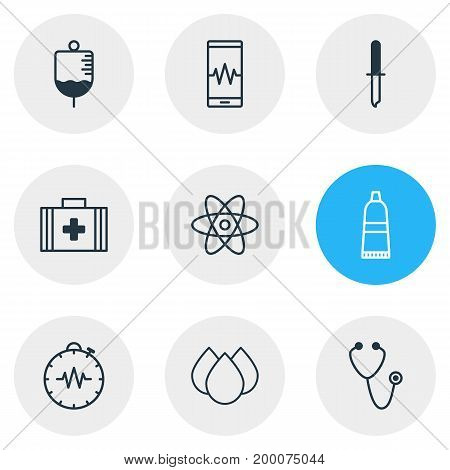 Editable Pack Of Pipette, Medical Bag, Tube And Other Elements.  Vector Illustration Of 9 Medical Icons.
