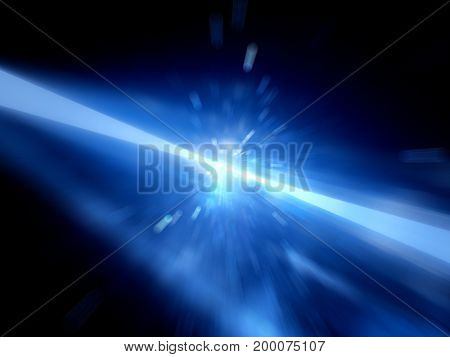 Blue glowing laser beams hitting the target explosion computer generated abstract background 3D rendering