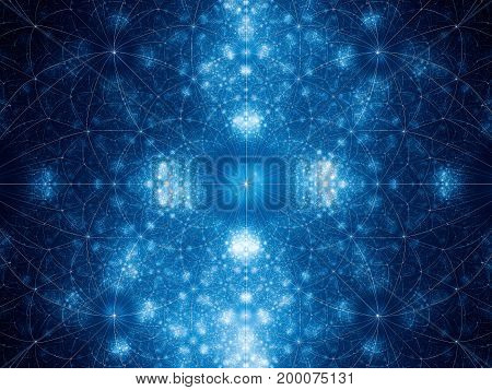 Blue glowing geometrical fibonacci shapes fractal computer generated abstract background 3D rendering