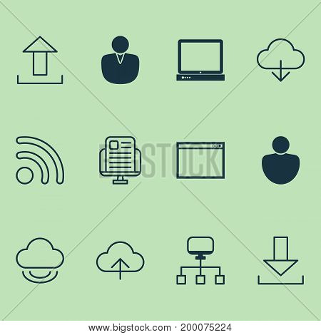Connection Icons Set. Collection Of User, Local Connection, Account And Other Elements