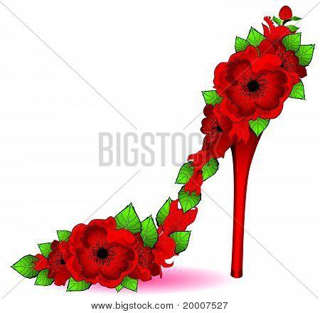High heel from beautiful flowers