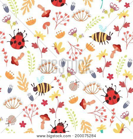 Cute autumn seamless pattern. Cartoon bugs plants herbs flowers. Vector illustration on white background. Childish ornament for wrapping paper and textile.