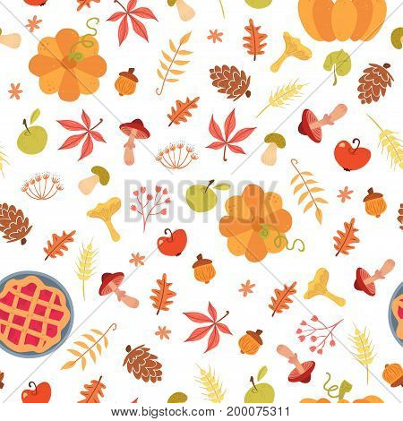 Cute autumn seamless pattern. Cartoon pie pumpkin harvest leaves. Vector illustration on white background. Childish ornament for wrapping paper and textile.
