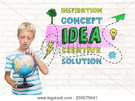 Digital composite of Boy holding world globe with colorful creative concept idea graphics