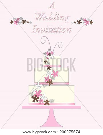 an illustration of a white decorated wedding cake with multi layers on a pink cake stand with abstract flowers