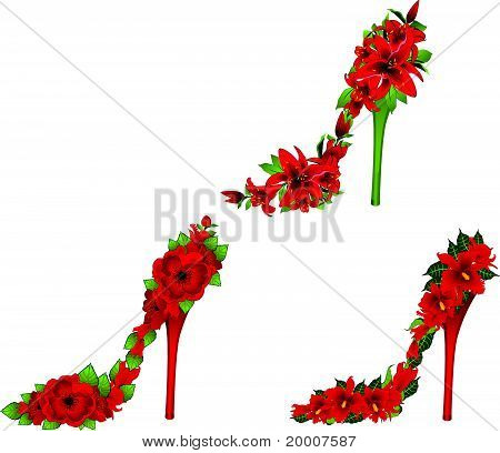 Shoes with high heels of beautiful colors vector
