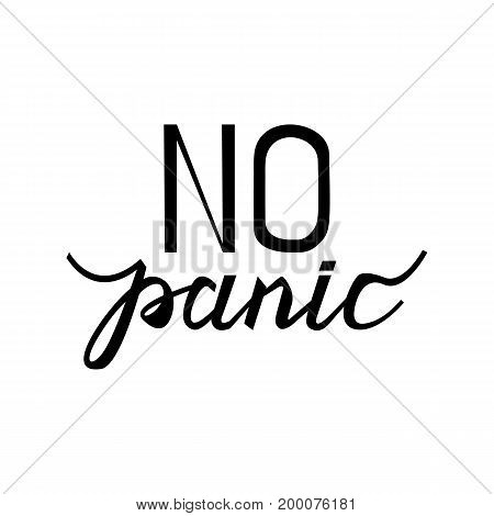 text no panic. Vintage concept background, art template, retro elements, logo, labels, layout, badge, old banner card Hand made typography word