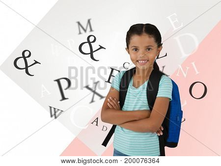 Digital composite of Many letters around Schoolgirl in front of abstract background