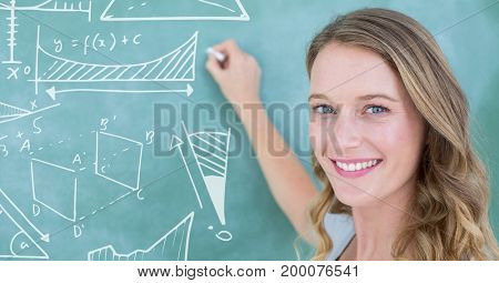 Digital composite of Woman drawing diagrams on blackboard