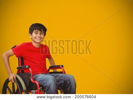 Digital composite of Disabled boy in wheelchair with yellow background