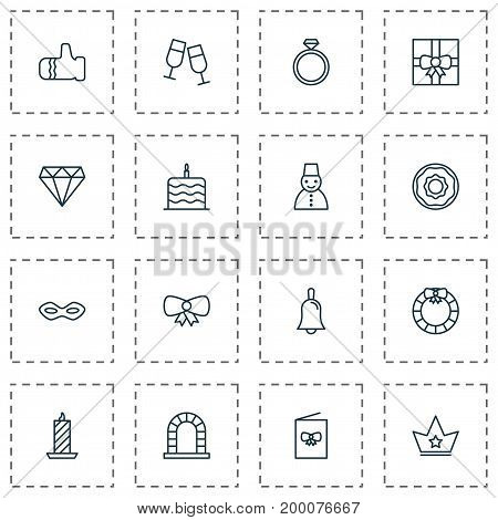 Happy Icons Set. Collection Of Fire Wax, Celebration Cake, Snow Person And Other Elements