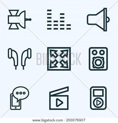 Music Outline Icons Set. Collection Of Equalizer, Player, Bullhorn And Other Elements