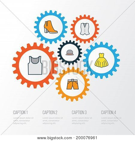 Dress Colorful Outline Icons Set. Collection Of Shorts, Evening Gown, Female Boots And Other Elements