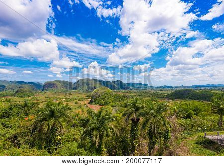 View Of The Vinales Valley, Pinar Del Rio, Cuba. Copy Space For Text.