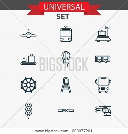 Shipping Icons Set. Collection Of Baggage, Baggage Carousel, Transport And Other Elements