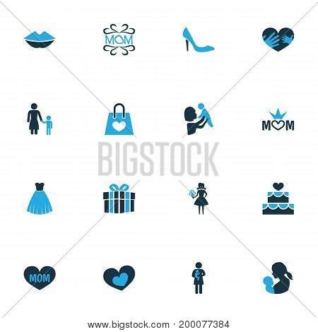 Mothers Day Colorful Icon Design Concept. Set Of 16 Such Elements As Dress, Cake And Child